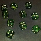 12mm Goldmist Spot Dice - Green